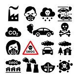 Smog, pollution icons set - ecology, environment concept