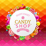 Colorful Background With Candy Banner