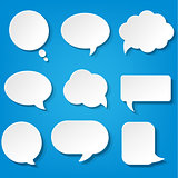 Speech Bubbles Set With Blue Background