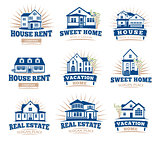 Isolated blue color architectural houses icons for real estate business leaflets emblems collection on white background vector illustration.