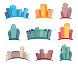 Isolated colorful skyscrapers emblems set, cityscape of architectural buildings in cartoon style vector illustrations collection.