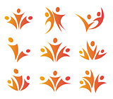 Isolated abstract orange color people unity logos set on white background vector illustration.