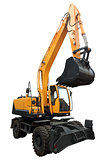 Yellow wheeled excavator.