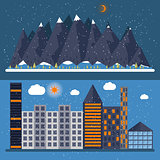 Vector illustration of a flat design with city