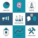 Stock Vector Linear icon Business Development