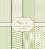 Vector illustration set of seamless patterns waves