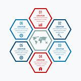 Vector illustration infographics six hexagons