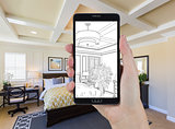 Hand Holding Smart Phone Displaying Drawing of Bedroom Photo Beh