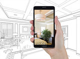 Hand Holding Smart Phone Displaying Photo of Bedroom Drawing Beh