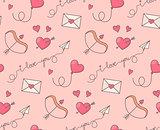 Romantic symbols seamless pattern.