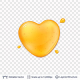Heart shaped honey drop on transparent background.