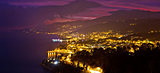 Opatija riviera bay evening panoramic view