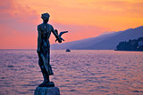 Opatija bay statue at sunset view