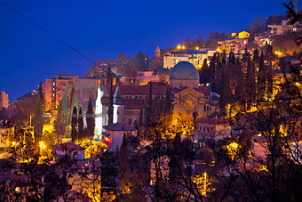 Town of Opatija cathedral evening view