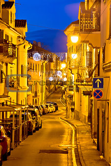 Town of Volosko street evening view