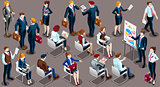 Isometric People Businessmen 3D Icon Set Vector Illustration