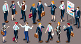 Isometric People Business Suit 3D Icon Set Vector Illustration