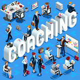 Isometric People Coaching Icon 3D Set Vector Illustration