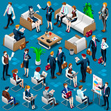 Isometric People Meeting Staff 3D Icon Set Vector Illustration