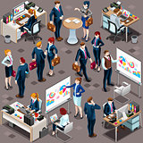 Isometric People Men Partnership 3D Icon Set Vector Illustration
