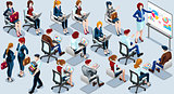 Isometric People Presentation Icon 3D Set Vector Illustration
