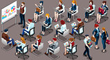 Isometric People Team Meeting 3D Icon Set Vector Illustration