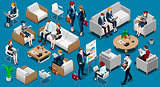 Isometric People Team Work 3D Icon Set Vector Illustration