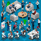 Isometric People Young Boss 3D Icon Set Vector Illustration