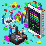 Retro Video Game Gaming Isometric People Vector Illustration
