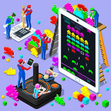 Video Game Retro Gaming Isometric People Vector Illustration