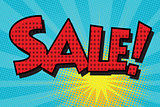 sale pop art retro comic book lettering