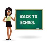 Teacher woman back to school with board. Cartoon template illustration.