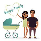 Mother and father with baby stroller. Vector illustration isolated on white background of happy family newborn child.