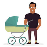 Young father with a baby carriage on the background of white.