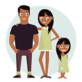 Mom and dad with daughter. Vector illustration isolated on white background happy family.