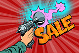 sale inscription Science fiction shot of a Blaster comic cloud