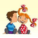 Boy kisses girl on the cheek