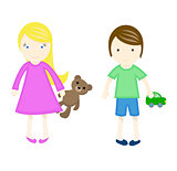 Happy children with toys. Vector illustration