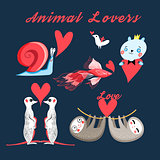 Graphics festive set of animal lovers