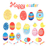 Vector set of eggs and chicks for Easter