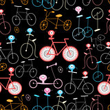 Seamless graphic pattern of funny retro bicycle