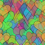 abstract vector colored valentine seamless with doodle hearts - red, orange, yellow, green, blue, purple and violet