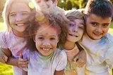 Portrait Of Children Celebrating Holi Festival