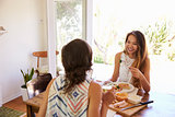 Two Female Friends Enjoying Meal At Home Together
