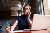 Businesswoman Working On Laptop And Making Phone Call