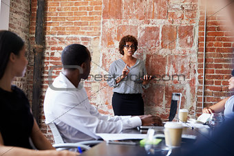 Mature Businesswoman Standing To Address Boardroom Meeting