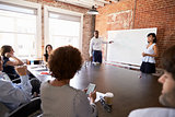 Businesspeople At Whiteboard Give Presentation In Boardroom