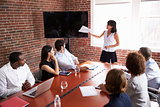 Businesswoman Addressing Boardroom Meeting With Screen