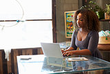 Mixed race woman working in shop uses laptop on the counter