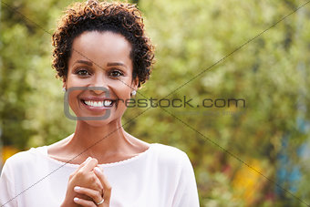 Portrait of young African American woman, horizontal